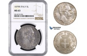 AA690, Italy, Umberto I, 5 Lire 1879-R, Rome, Silver, NGC MS63