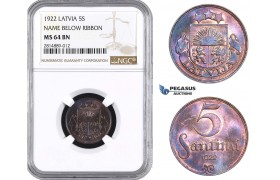 AA694, Latvia, 5 Santimi 1922, NGC MS64BN, Pop 3/3