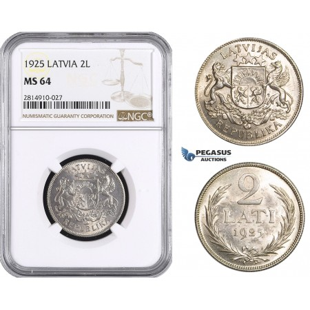AA695, Latvia, 2 Lati 1925, Silver, NGC MS64