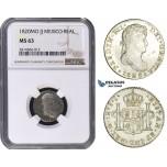 AA697, Mexico, Ferdinand VII, 1 Real 1820 Mo JJ, Mexico City, Silver, NGC MS63