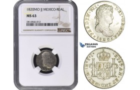 AA697, Mexico, Ferdinand VII, 1 Real 1820 Mo JJ, Mexico City, Silver, NGC MS63