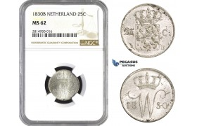 AA701, Netherlands, Willem I, 25 Cents 1830, Brussels, Silver, NGC MS62, Pop 1/0, Rare!