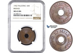 AA702, Palestine, 10 Mils 1942, London, Bronze, NGC MS63BN