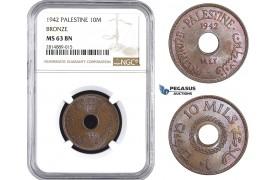 AA702, Palestine, 10 Mils 1942, London, Bronze, NGC MS63BN