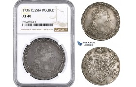 AA706, Russia, Anna, Rouble 1736, Moscow Kadashevsky Mint, Silver, NGC XF40