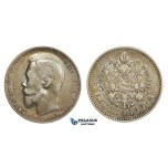 AA711, Russia, Nicholas II, Rouble 1899 (ЭБ) St. Petersburg, Silver, Toned VF