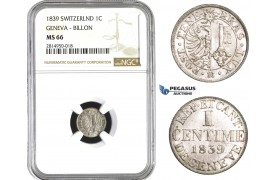 AA715, Switzerland, Geneva, 1 Centime 1839, Billon, NGC MS66, Pop 1/0