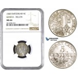 AA716, Switzerland, Geneva, 5 Centimes 1840, Billon, NGC MS66, Pop 1/0