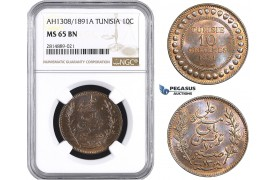 AA717, Tunisia, French Protectorate, 10 Centimes AH1308/1891- A, Paris, NGC MS65BN, Pop 1/0