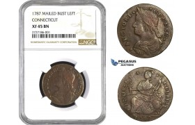 AA718, Early American, Connecticut, 1787 Mailed Bust Left, NGC XF45BN