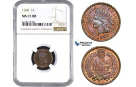 AA721, United States, Indian Cent 1898, Philadelphia, NGC MS65RB