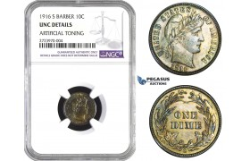 AA722, United States, Barber Dime (10C) 1916-S, San Francisco, Silver, NGC UNC Det.