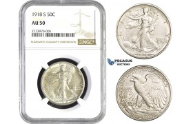 AA724, United States, Walking Liberty Half Dollar (50C) 1918-S, San Francisco, Silver, NGC AU50