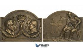 AA727, Belgium, Bronze Plaque Medal 1903 (50x40mm, 37.1g) by Rombaux, Visit of Albert to Mariemont Coal Mine