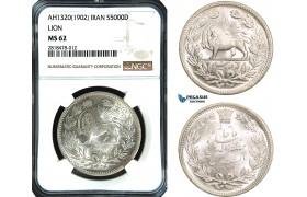 AB481, Iran, Muzaffar al-Din Shah, 5000 Dinars AH1320 (1902) Silver, NGC MS62