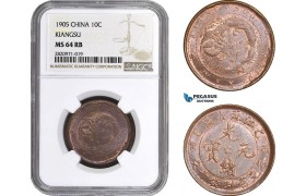 AB858, China, Kiangsu, 10 Cash 1905, NGC MS64RB