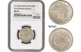 AB869, Egypt, Occupation Coinage, 5 Piastres AH1338 /1920-H, Heaton, Silver, NGC MS63
