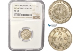 AC342, China, Kwangtung, 10 Cents ND (1890-1908) Silver, L&M-136, NGC MS63