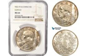 "AC346, China ""Fat Man"" Dollar Yr. 3 (1914) Silver, L&M-63, NGC MS64"