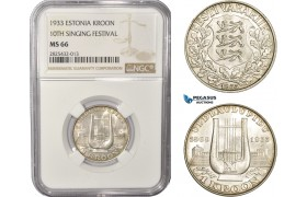 AC459-R, Estonia, 1 Kroon 1933, Silver, NGC MS66