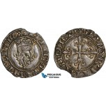 AC888, France, Charles VI, Gros dit Florette ND (1417) Rouen, Silver (2.90g) Small edge flaw, Toned AU