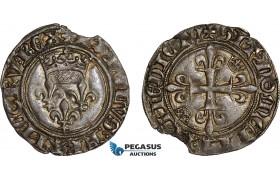 AC888, France, Charles VI, Gros dit Florette ND (1417) Rouen, Silver (2.90g) Small edge flaw, Toned AU