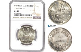 AD348, French Indo-China, ESSAI 50 Centimes 1946, Paris, Cu-Ni, NGC MS66