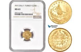AD366, Ottoman Empire, Turkey, Mehmed Vahdeddin VI, 25 Kurush AH1336/1, Qustantiniya, Gold, NGC MS63