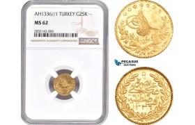 AD367, Ottoman Empire, Turkey, Mehmed Vahdeddin VI, 25 Kurush AH1336/1, Qustantiniya, Gold, NGC MS62