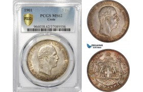 AD433, Crete, George I. of Greece, 5 Drachmai 1901, Paris, Silver, PCGS MS62, Pop 1/1, Very Rare!