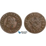 AD571, France, Henri IV, Double Tournois 1604, Paris, XF (Verdegris spots)