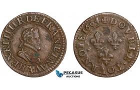 AD571, France, Henri IV, Double Tournois 1604, Paris, XF (Verdegris spots)