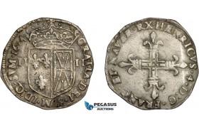 AD572, France, Henri IV, 1/4 Ecu de Navarre 1604, Saint Palais, Silver (9.33g) Dup. 1238, Light corrosion, VF