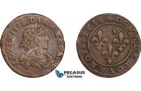 AD575, France, Louis XIII, Double Tournois 1638, Paris,