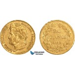 AD609, France, Louis Philippe I, 20 Francs 1840-A, Paris, Gold (6.41g) VF-XF