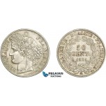 AD611, France, Second Republic, 50 Centimes 1851-A, Paris, Silver, XF-AU