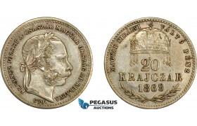 AD621, Hungary, Franz Joseph, 20 Krajczar 1869 GYF, Gyalafehervar, Silver, Toned VF-XF