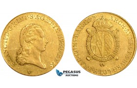 AD622, Italy, Lombardy, Franz II. of Austria, 1/2 Sovrano 1793-V, Venice, Gold (5.54g) Lustrous XF