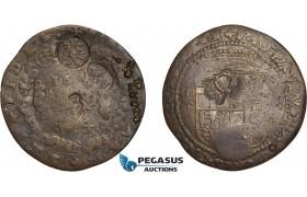 AD623, Malta, Jean-Paul Lascaris Castellar, 4 tari 1643, Countermarked (7.46g) VF