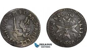 AD624, Malta, Manoel de Vilhena, Grano 1726 (2.87g) Light corrosion, VF