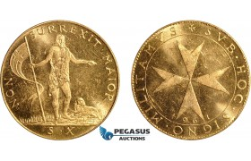AD627, Malta, Republic, 10 Scudi 1961, Gold (8.20g) Cleaned UNC