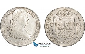 AD629, Mexico, Ferdinand VII, 8 Reales 1811 Mo HJ, Mexico City, Silver, Cleaned VF