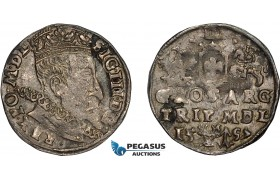 AD635, Lithuania, Sigismund III. of Poland, 3 Groschen (Trojak) 1597, Vilnius, Silver (2.24g) Toned VF-XF