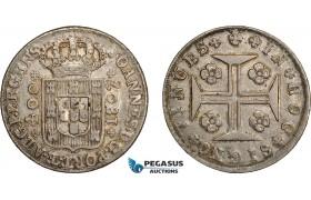 AD638, Portugal, João, Prince regent, 400 Reis 1807, Lisbon, Silver, Toned XF-AU