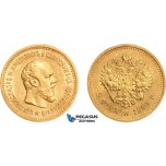 AD640, Russia, Alexander III, 5 Roubles 1889 (АГ) St. Petersburg, Gold, Lightly cleaned AU
