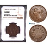 AD913, Straits Settlements, Victoria, 1 Cent 1845, NGC AU55BN