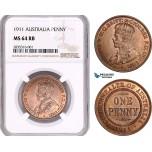AE065, Australia, George V, 1 Penny 1911, NGC MS64RB