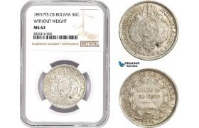AE069, Bolivia, 50 Centavos 1891 PTS CB, Potosi, Silver, NGC MS62