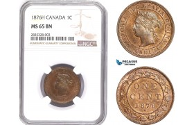 AE070, Canada, Victoria, 1 Cent 1876-H, Heaton, NGC MS65BN