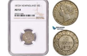 AE071, Canada, Newfoundland, Victoria, 10 Cents 1872-H, Heaton, Silver, NGC AU53